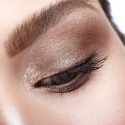 Female eye zone and brows with day makeup Stock Photos