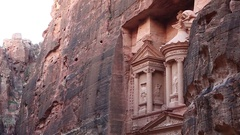 Al Khazneh or the Treasury at ancient Rose City of Petra in Jordan Stock Footage