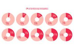 Vector Percentage infographics. 5 10 15 20 25 30 35 40 45 50 circle chart Stock Illustration