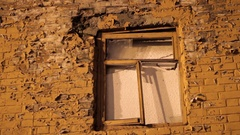 Old broken window Stock Footage
