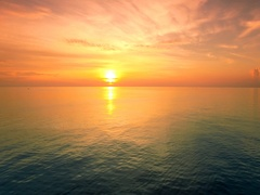 4K Drone; Tropical sunset above ocean, Koh Tao, Thailand Stock Footage