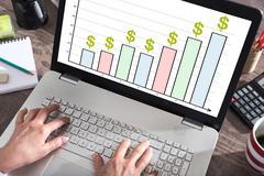 Business analysis concept on a laptop screen Stock Photos