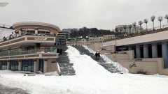 Staircase from Poshtova Ploshcha square to Dnipro embankment Stock Footage