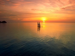 4K Drone; Sail boat at sunset, Koh Tao, Thailand Stock Footage