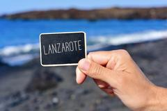 Signboard with the text Lanzarote, in Spain Stock Photos