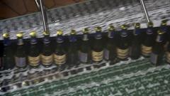 Beer bottles on conveyor of water bottling machine Stock Footage