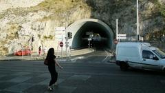 Marseille Life - cars tunnel pedestrians Stock Footage