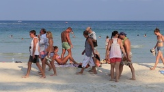 Haad Rin beach before the full moon party. Koh Phangan, Thailand Stock Footage
