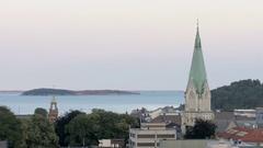 Shot of Domkirken in Kristisand, Norway, wideshot Stock Footage
