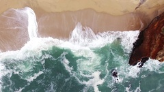 Panther Beach Aerial Rise Stock Footage