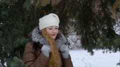 A Beautiful Fashion Model Smiling and Looking At Camera. Long red hair. Drifting Stock Footage