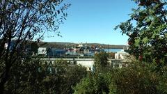 "Nuclear icebreaker ""Sibir"" is in the dock in the port of Murmansk. Zoom in. Stock Footage"