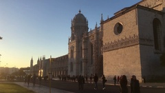 Crowd of Tourists At Famous Lisbon Landmark Jeronimos Monastery Stock Footage