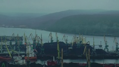 Kola Bay and the water area of Murmansk seaport. Editorial use. Stock Footage