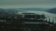 Kola Bay and the water area of Murmansk seaport in the autumn dusk. Stock Footage
