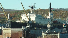 "The atomic icebreaker ""Sibir"" docked in the port of Murmansk. Stock Footage"