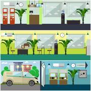 Vector set of bank interior concept design elements, flat style Stock Illustration