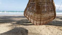 View from an hammock near ocean beach Stock Footage