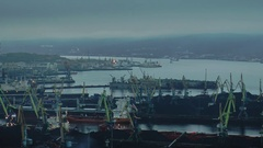 The water area of Murmansk sea port and the Kola Bay autumn evening. Stock Footage