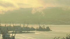 Kola Bay and the water area of Murmansk Sea Port  winter. Timelapse. Stock Footage