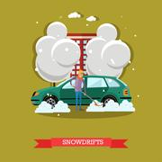 Vector illustration of boy clearing car from snow, flat style Stock Illustration