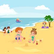 Children summer vacation. Kids Playing sand around water on beach Piirros