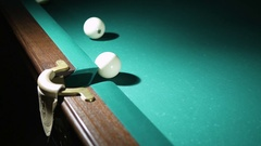 Russian billiards blow cue - successfully. Ball enters the pocket Stock Footage