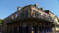 Corner of French Quarter building static New Orleans Louisiana Stock Footage
