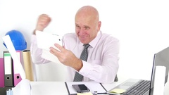 Technician Working Use Tablet Receive Email Good News and Make Victory Gestures. Stock Footage