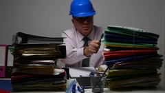 Engineer Working Late in Businessman Archive Sort Files and Use Clipboard Notes. Stock Footage