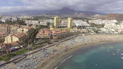 Tenerife - Playa de Los Cristianos aerial view Stock Footage