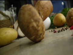 White mushroom egg potatoes 1 Stock Footage