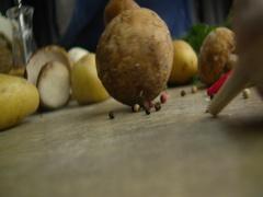 White mushroom egg potatoes 2 Stock Footage