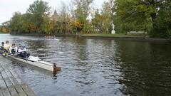 Finish of male crew on St. Petersburg autumn rowing marathon 2016, 4k footage Stock Footage