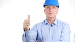 Employee TV Interview Showing Thumbs Up Hand Gesture Good Job Well Done. Stock Footage