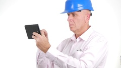 Businessman Engineer Browse Internet Connection Use Electronic Touch Tablet. Stock Footage