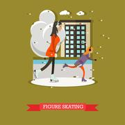 Vector illustration of mother with daughter skating in flat design Stock Illustration