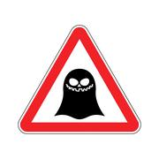 Attention ghost. Dangers of red road sign. spook Caution Stock Illustration