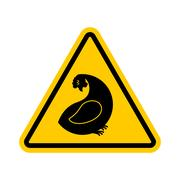 Attention hen. Dangers of yellow road sign. Chicken farm Caution Piirros