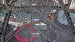 View through the cabin window Giant Ferris Wheel, Vienna Prater Stock Footage