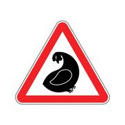 Attention hen. Dangers of red road sign. Chicken farm Caution Piirros