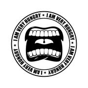 I am very hungry logo. Open mouth and teeth. Emblem for restaurant and cafe.. Stock Illustration
