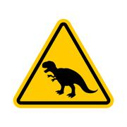 Attention dinosaur. Dangers of yellow road sign. Prehistoric predator Cauti.. Stock Illustration