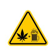 Attention Drugs and alcohol. Dangers yellow road sign. beer and marijuana C.. Stock Illustration