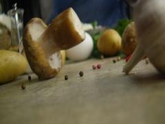 White mushroom egg potatoes 3 Stock Footage