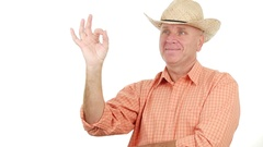 Agronomy Specialist in a Commercial Show Ok Hand Gesture Good Job Fingers Sign. Stock Footage