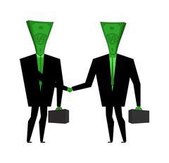 Businessman handshake. Financial greet people. Money transactions Stock Illustration