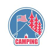 Camping logo. Tent camp emblem. forest and tent. Bonfire Piirros