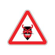 Attention devil. Dangers of red road sign. Satan Caution! Stock Illustration