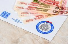 Tax payment notice letter with logo of the Federal Tax Service of Russia an.. Stock Photos